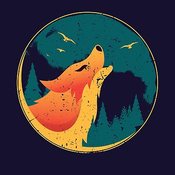 Wolf Howling To The Moon - Nature Lovers Gifts by deepsenses