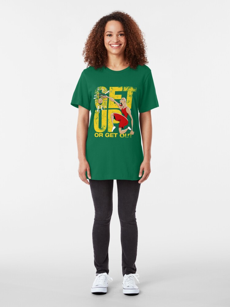 Alternate view of Basketball Motivational Sports T-Shirt Get Up Or Get Out Slim Fit T-Shirt