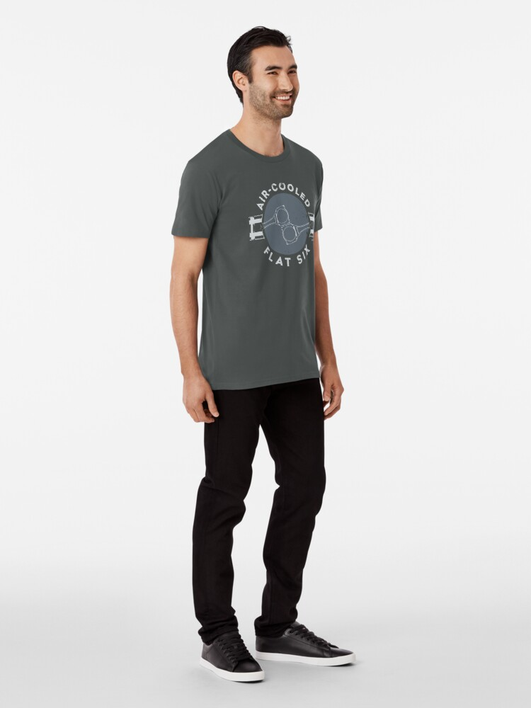 Alternate view of Air-Cooled Flat Six - Grey Premium T-Shirt