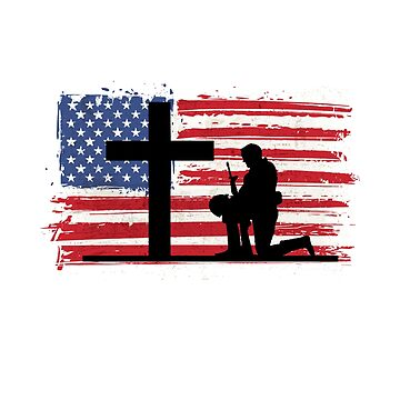 Stand For The Flag Kneel For The Cross American Flag Patriotic  by CheerfulDesigns