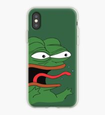 Pepe The Frog Mad Angry Raging and screaming REE with tongue out Rare PepeTheFrog from Kekistan green background iPhone Case