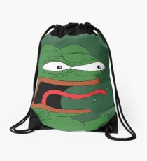 Pepe The Frog Mad Angry Raging and screaming REE with tongue out Rare PepeTheFrog from Kekistan green background Drawstring Bag