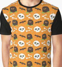 Halloween Skull Bats Bones Gravestone RIP Seamless Pattern Graphic T-Shirt
