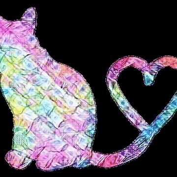 Cat Lover - Rainbow Kitten with Heart Tail by Vintage-Rose