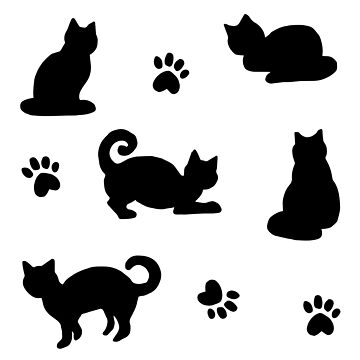 Black Cats and Paw Prints Pattern by julieerindesign