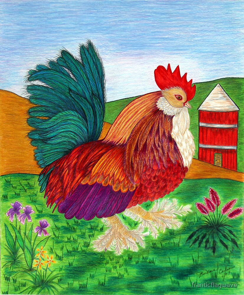 """""""Rooster with Silo"""" by franticflagwave"""