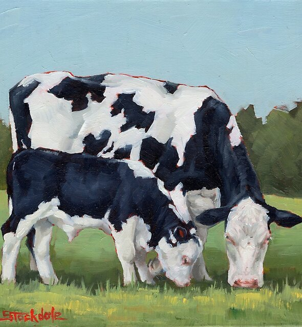 Cow And Calf Miniature Painting  by Margaret Stockdale