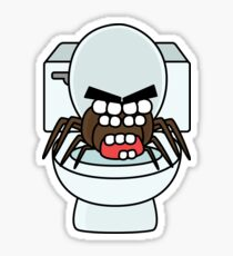 angry zombie toilet spider Sticker