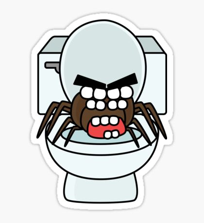 angry zombie toilet spider Glossy Sticker