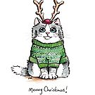 Meowy Christmas Cat Green Jumper by Lisa Marie Robinson