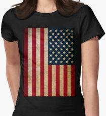Vintage American Flag Womens Fitted T-Shirt
