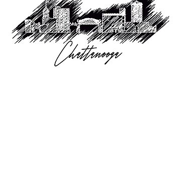 Chattanooga graphic scribble skyline in black by DimDom