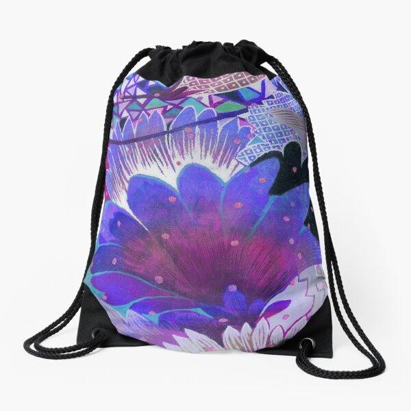Blue flowers Drawstring Bag