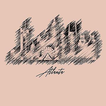 Atlanta graphic scribble skyline  by DimDom