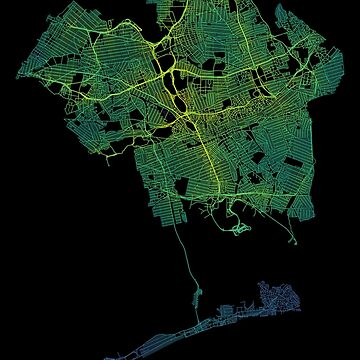 Queens, New York, USA Colored Street Network Map Graphic by ramiro