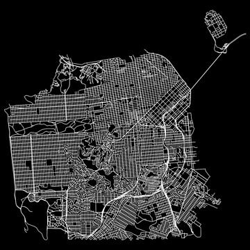 San Francisco, USA Street Network Map Graphic by ramiro