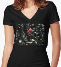 Defiance - rose in winter Women's Fitted V-Neck T-Shirt