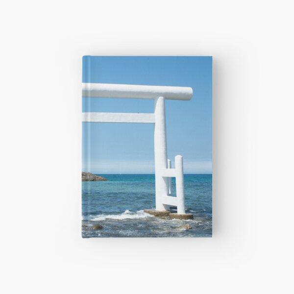 the wedded rocks and white Torii at Futamigaura beach Hardcover Journal