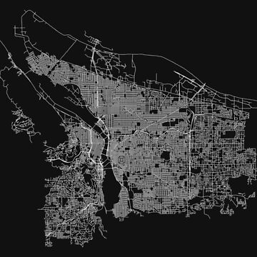 Portland, Oregon, USA Street Network Map Graphic by ramiro