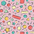 Doodle Shapes with Pink Background by 01kath01