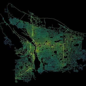Portland, Oregon, USA Colored Street Network Map Graphic by ramiro