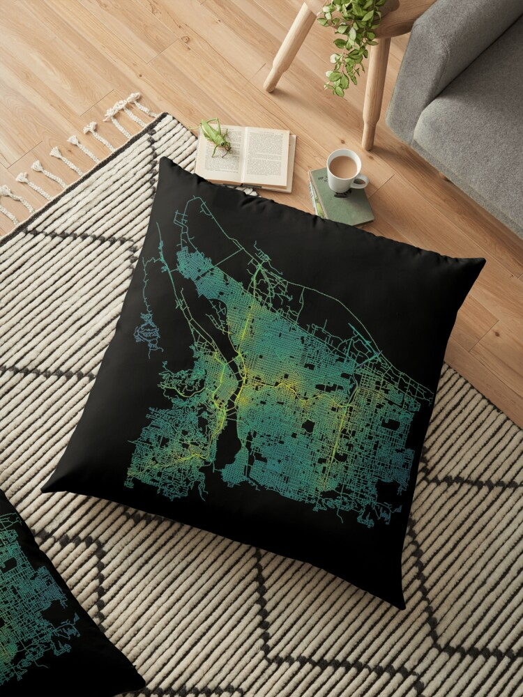 \'Portland, Oregon, USA Colored Street Network Map Graphic\' Floor Pillow by  ramiro