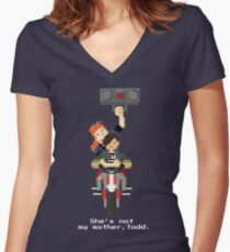 John Connor and Tim - Terminator 2 Women's Fitted V-Neck T-Shirt