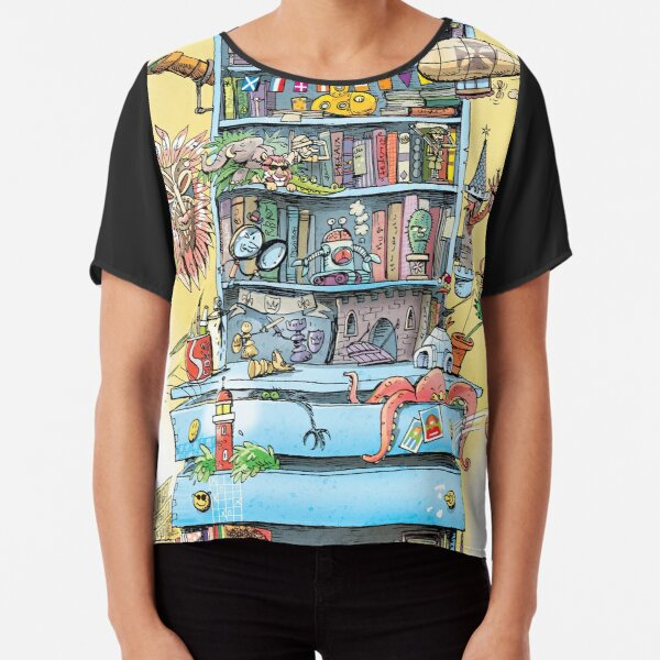 shelf with adventure books and toys Chiffon Top