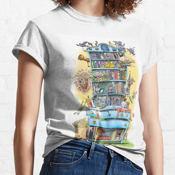 shelf with adventure books and toys Classic T-Shirt