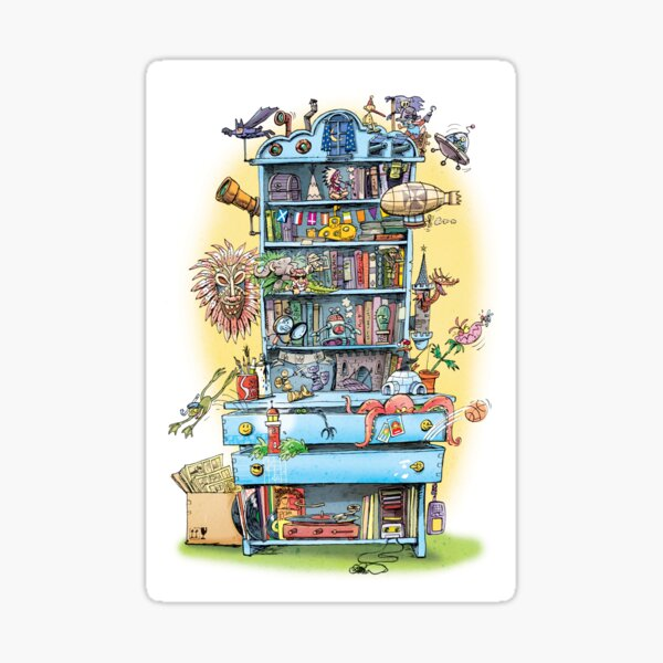 shelf with adventure books and toys Sticker