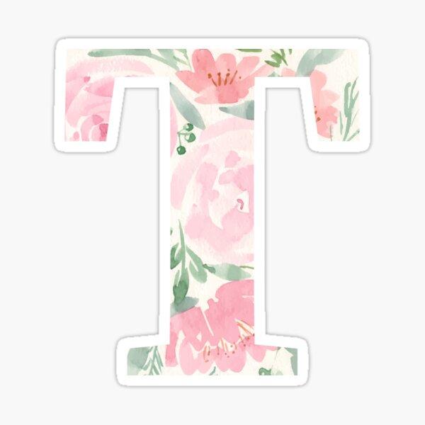 Watercolor floral letter T Sticker