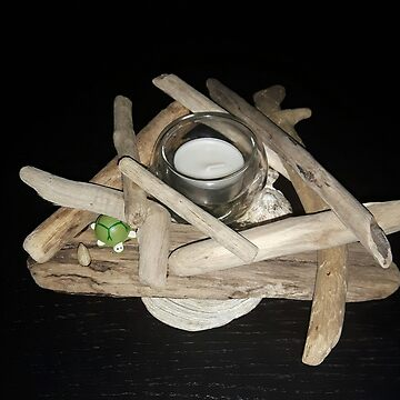 Pretty driftwood candlestick by GreyCreatures