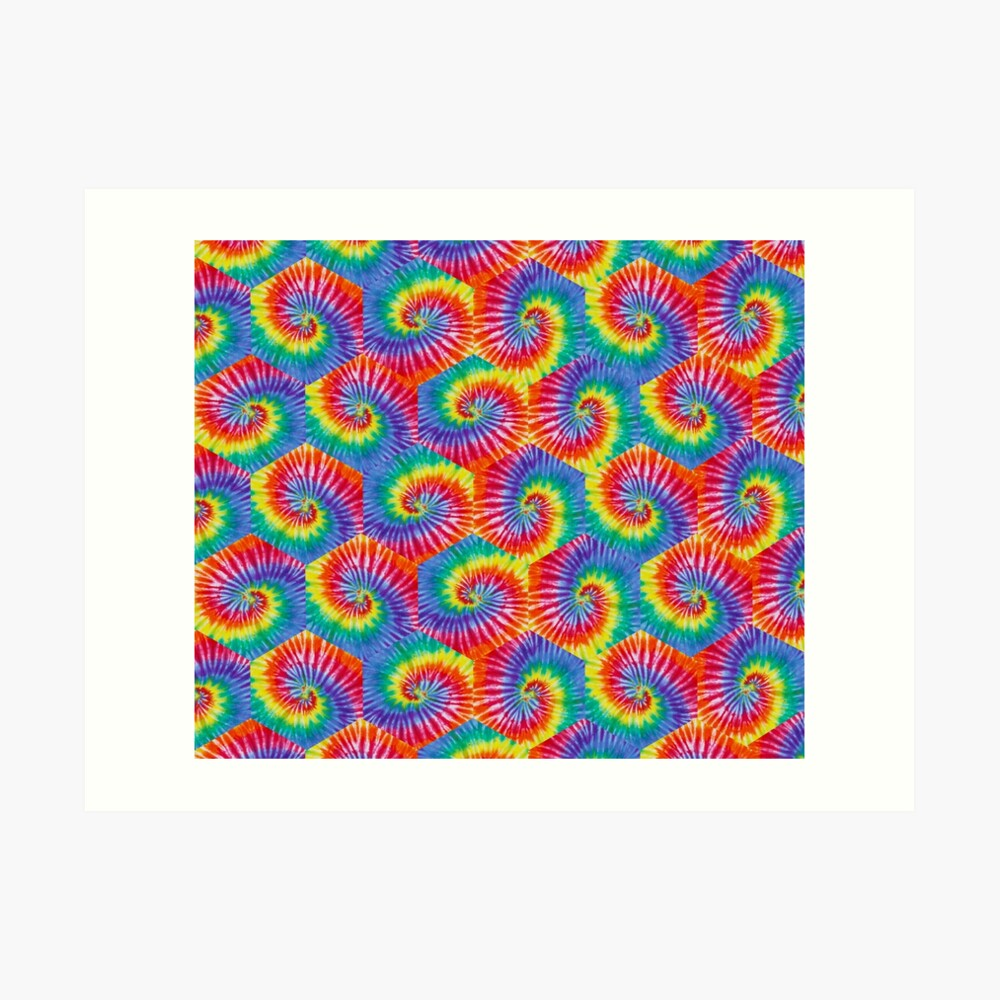 Tie-Dye Hexagon Psychedelic Bohemian Hippie Festival 60's Funky 70's Art Print