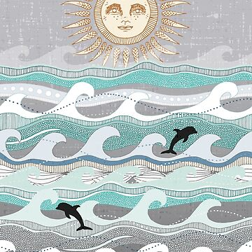 sunset dolphin waves by scrummy