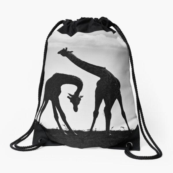 Necking Giraffes Drawstring Bag