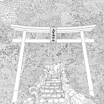 Shikaumi Shrine in Japan - Line Art by m-lapino