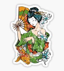 Japanese Geisha and Koi Fish Sticker