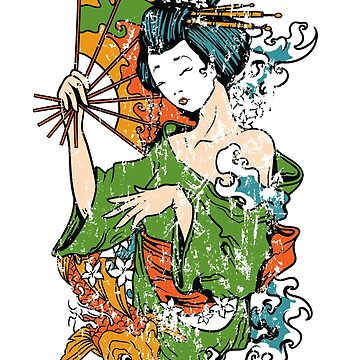 Japanese Geisha and Koi Fish by m3kail