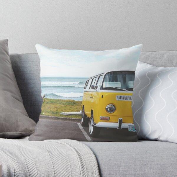 Yellow combi van Throw Pillow