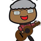 Black Grandpa Rocks Guitar by ValeriesGallery