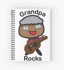 Black Grandpa Rocks Guitar Spiral Notebook