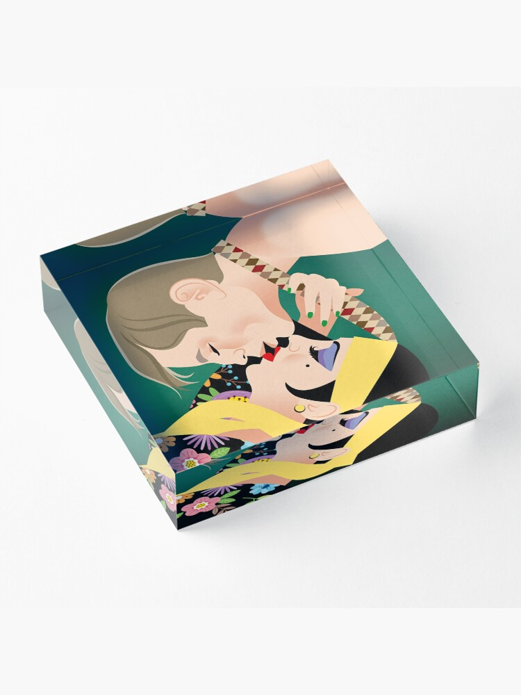 Alternate view of Upside down kiss Acrylic Block