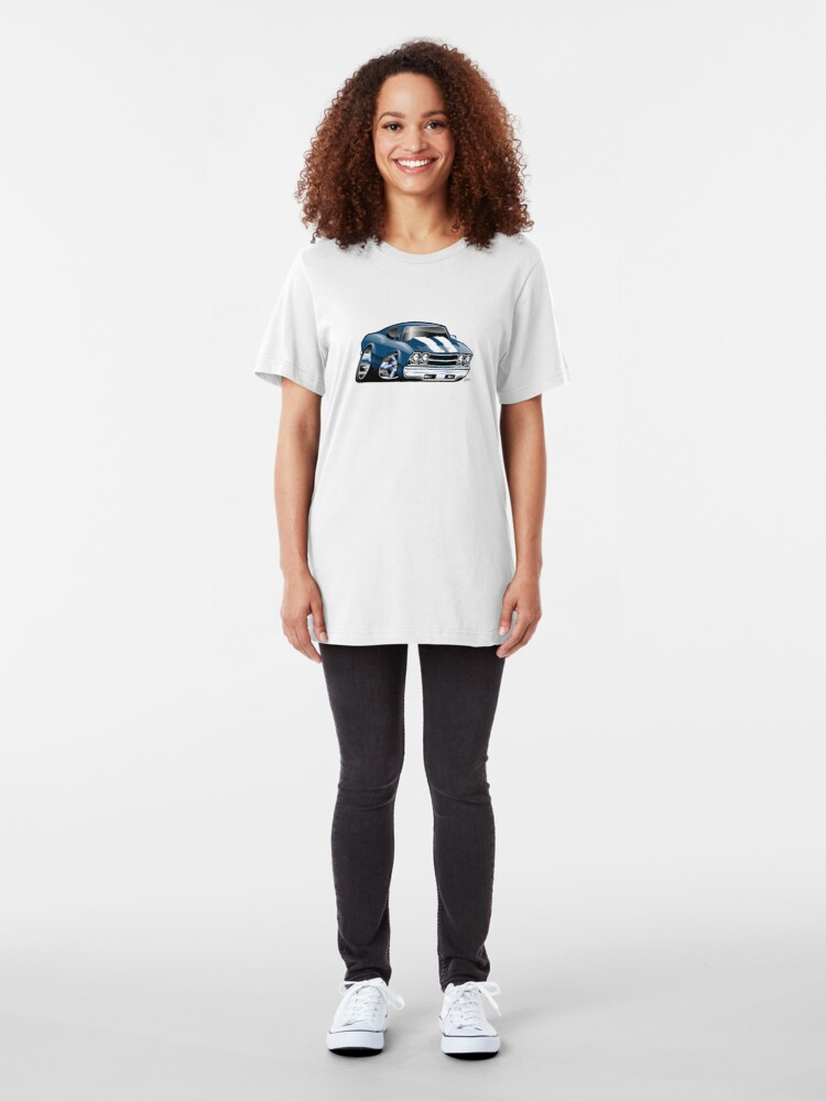 Alternate view of 69 Muscle Car Cartoon Slim Fit T-Shirt