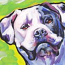 «Divertido American Bulldog Dog brillante colorido Pop Art» de bentnotbroken11
