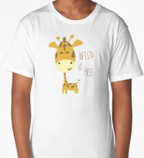 Giraffe Cute Animal Design - Wild and Free Quote Long T-Shirt
