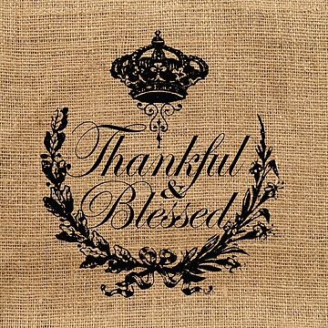 thanksgiving french country crown burlap thankful and blessed by lfang77