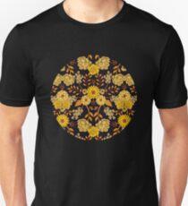 Yellow, Orange & Navy Blue Dark Floral Pattern Unisex T-Shirt