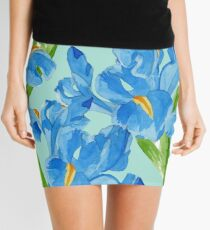 Watercolor iris spring flowers  Mini Skirt