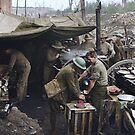 Cooks of the 2nd Australian Battalion preparing bully-beef rissoles for the evening meal, Ypres, WWI by Marina Amaral