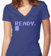 Commdore C64 Ready Women's Fitted V-Neck T-Shirt